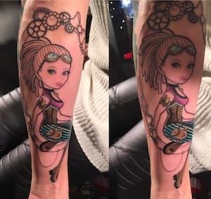 Verse tattoo ingepakt met speciale tattoo folie - voor en na - Protection Film
